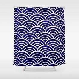 Japanese Seigaiha Wave – Navy Palette Shower Curtain