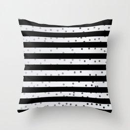 Black stripe silver dot pattern Throw Pillow