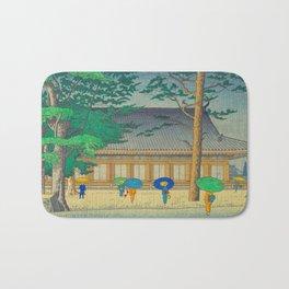 Asano Takeji Rain At Sanjusangendo Temple Vintage Japanese Woodblock Print East Asian Culture Bath Mat