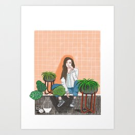 girl in peach with plants illustration painting Art Print