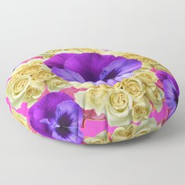 PURPLE PANSY FLOWERS & IVORY ROSES  PINK ART Floor Pillow