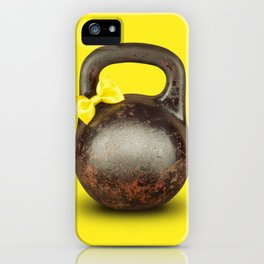 Funny large kettlebell with ribbon iPhone Case