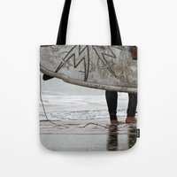 surfboard Tote Bags featuring Surfboard 2 by Becky Dix