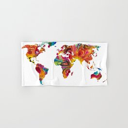 Map of The World 2 -Colorful Abstract Art Hand & Bath Towel