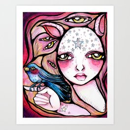 A Girl and Her Bird Art Print