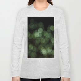 Bokeh Blurred Lights Shimmer Shiny Dots Spots Circles Out Of Focus Green Long Sleeve T-shirt