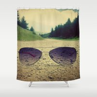 sunglasses Shower Curtains featuring Mountain Sunglasses by anniebananie photography & design