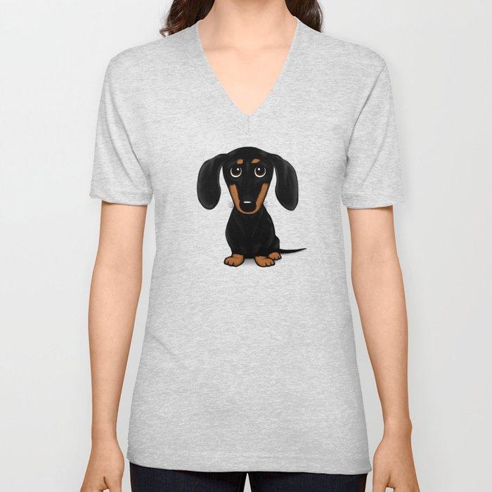 Black and Tan Dachshund   Cute Cartoon Wiener Dog Unisex V-Ausschnitt
