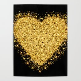 Happy Valentines day greeting card. Gold heart with glitter stars and particles. Poster