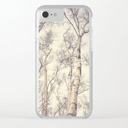 Winter Birch Trees Clear iPhone Case