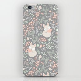 Sleeping Fox - grey pattern design iPhone Skin