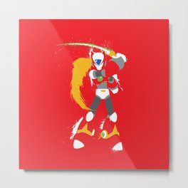 Zero (Mega Man X) Splattery Design Metal Print