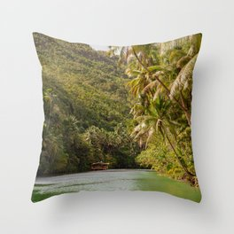 Boats Float Down the River Throw Pillow