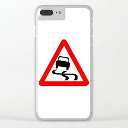 Danger SkiddingTraffic Sign Isolated Clear iPhone Case
