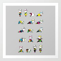 Yoga Bear - 80's Remix Art Print