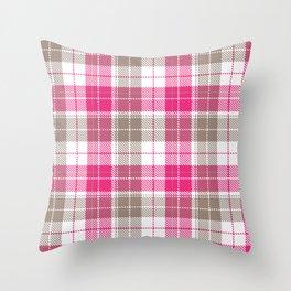Pink & Natural Tartan Pattern Throw Pillow