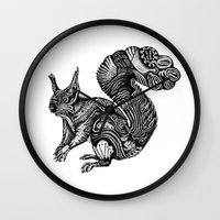 squirrel Wall Clocks featuring Squirrel by Ejaculesc
