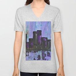 Purple City. Cyber Punk City. Jodilynpaintings Purple City Abstract Unisex V-Neck