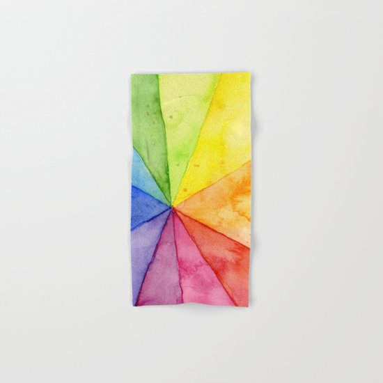 Rainbow Watercolor Geometric Pattern Hand & Bath Towel