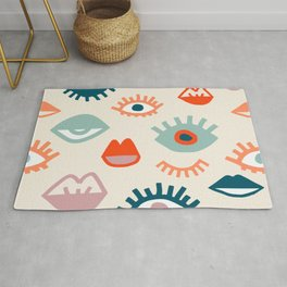 Mystic Eyes- Colorful cartoon seamless pattern with opened, closed eyes and lips in simple hand drawn style Rug