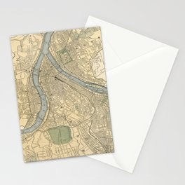 Vintage Map of Pittsburgh PA (1891) Stationery Cards