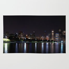 Chicago night skyline with fireworks, Usa. Rug