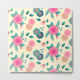 Pink and blue-green stylized tropical flowers Metal Print