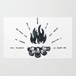 Campfire Black and White Flames Vintage Rug