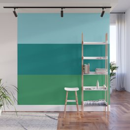 Tanager Turquoise, Teal Blue and Kelly Green Horizontal Color Blocks Wall Mural