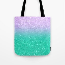 Mermaid purple teal aqua FAUX glitter ombre gradient Tote Bag