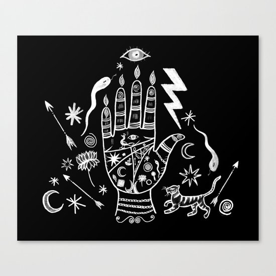 Spiritual Hand Black and White Canvas Print