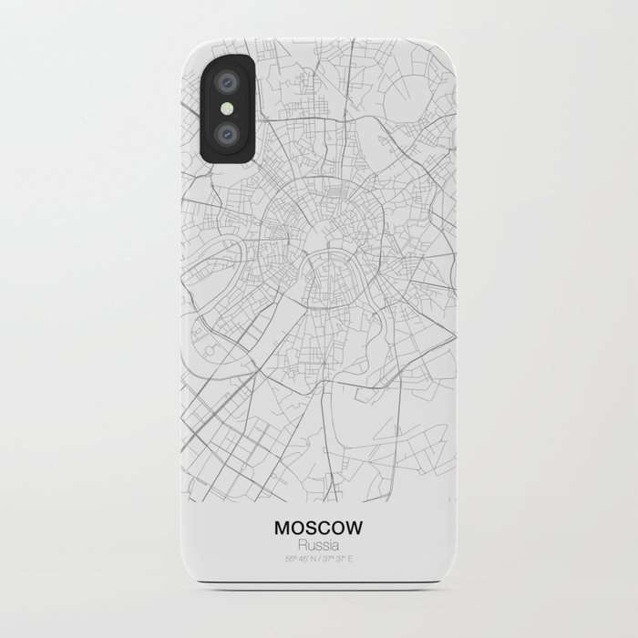 Moscow, Russia Minimalist Map iPhone Case by resfeber | Society6
