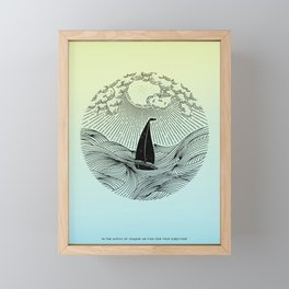 IN THE WAVES OF CHANGE WE FIND OUR TRUE DIRECTION (Blue) Framed Mini Art Print