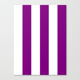 Wide Vertical Stripes - White and Purple Violet Canvas Print