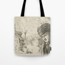 Half-length-of-a-man-in-a-landscape by George Manson Tote Bag
