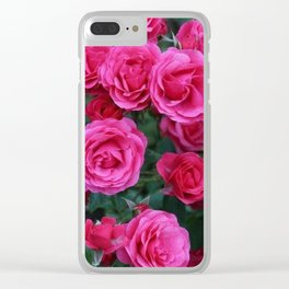 Pink Charm Roses Clear iPhone Case