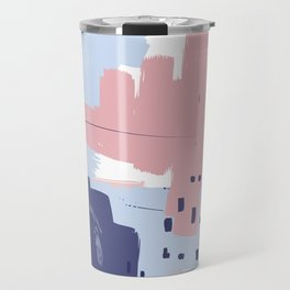Pink Blush Purple Blue Decorative Abstract painting -2, Colour Symphony abstraction, Travel Mug