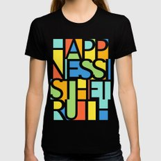 Happiness SMALL Black Womens Fitted Tee