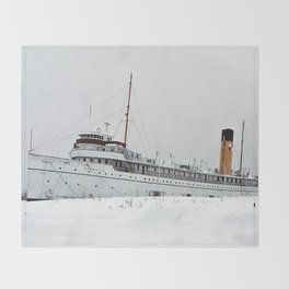 SS Keewatin in Winter White Throw Blanket