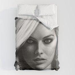 Margot Robbie Pencil Sketch Duvet Cover