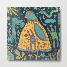 Chatty Yellow Bird Metal Print