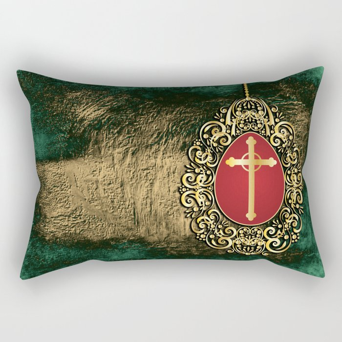 Beautiful red egg with gold cross on a moody green and gold texture Rectangular Pillow