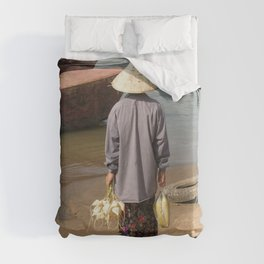 Lao Woman Coming from the Farmer's market Duvet Cover