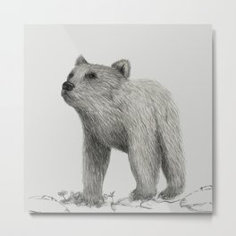 Bear Monochromatic Metal Print