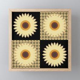 Sunflower Fields Black Pattern Framed Mini Art Print