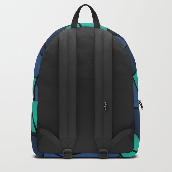With blue turquoise and black abstract pattern . Backpack