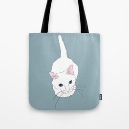 Kitty cat Illustrated Print White Pink Blue Tote Bag