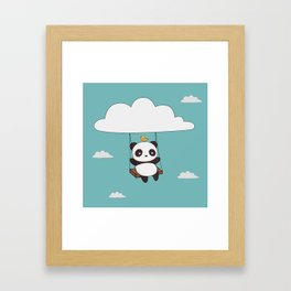 Kawaii Cute Panda In The Sky Framed Art Print