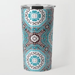 Portuguese Tiles Azulejos Aquamarine Black White Pattern Travel Mug