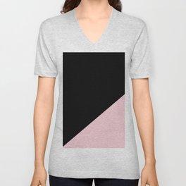 Black & Soft Pink - oblique Unisex V-Neck